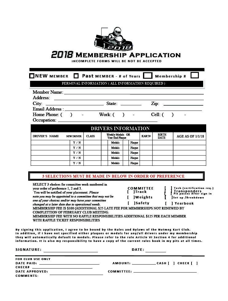 Members Application Form  Nutmeg Kart Club  Nutmeg Kart Club