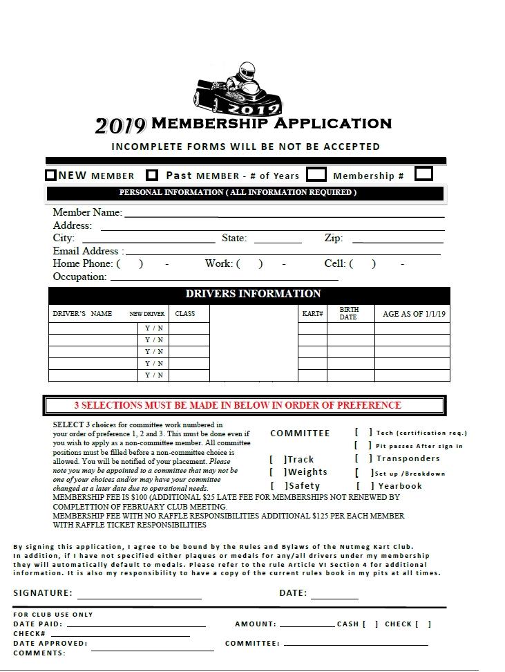 Members Application Form – Nutmeg Kart Club